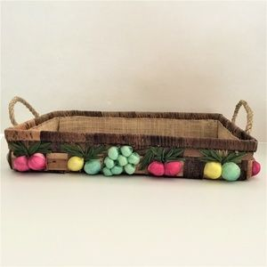 Other - Lined Wicker Basket Front Door Catch All Boho